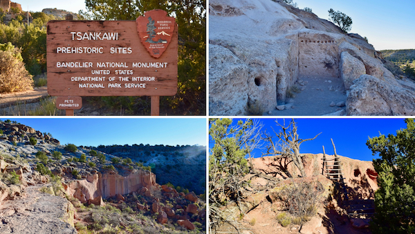 4 pic collage of sites at Tsankawi park