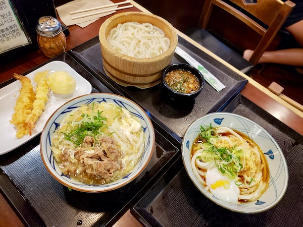 3 bowls of noodles at Marukame Udon