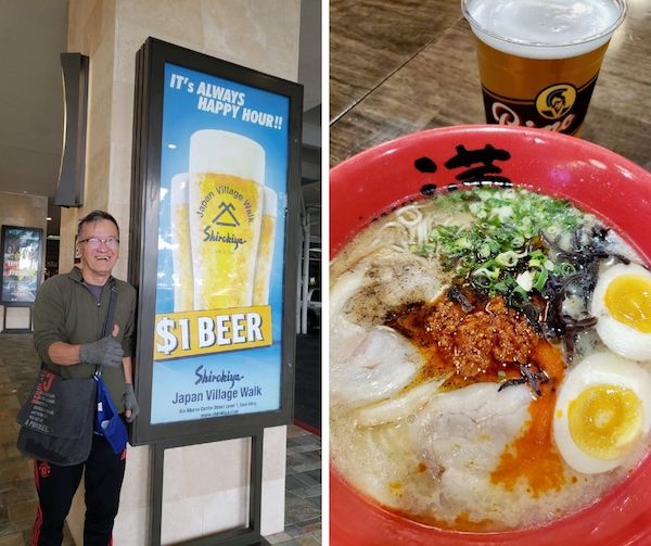 Collage of man with beer poster and bowl of ramen with beer - Oahu restaurants