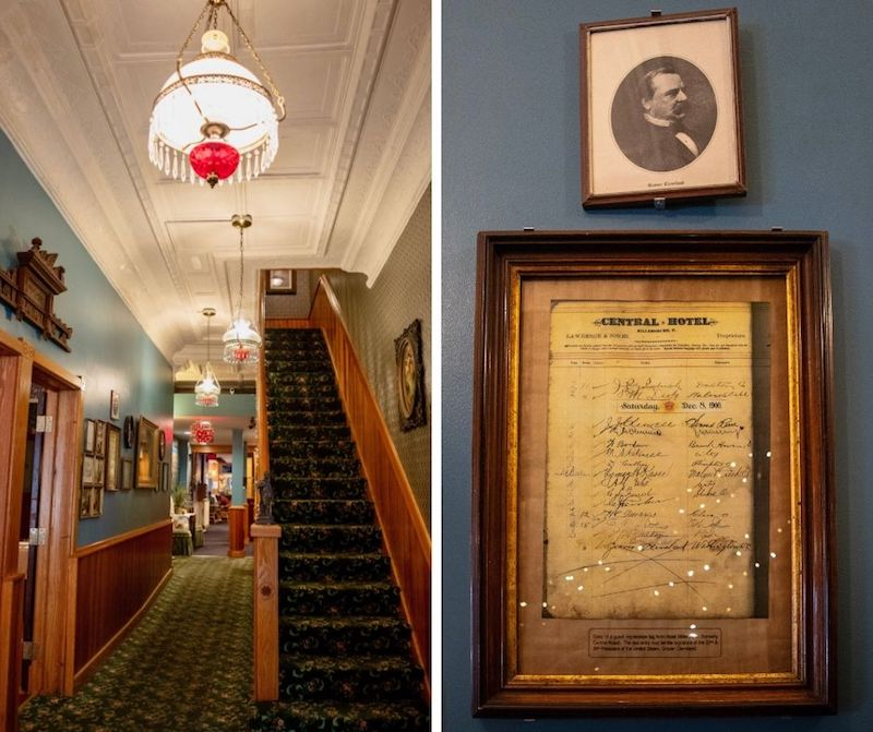2 pic collage of hotel stairway entrance and frames on wall
