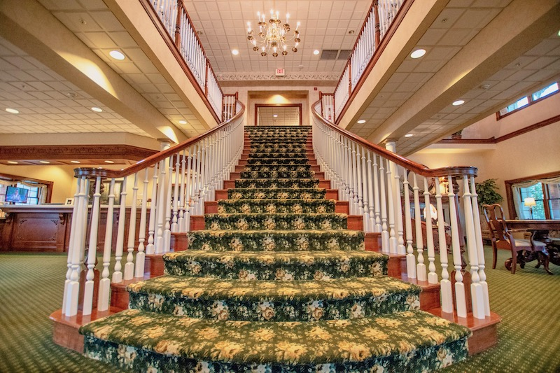 Grand staircase at Amish Country Ohio hotel