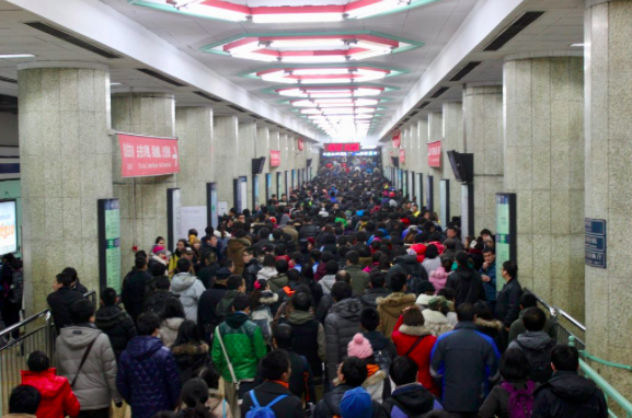 Crowded Beijing subway station