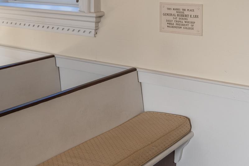 Robert E Lee Church Seat in Lee Chapel and Museum on Washington and Lee University Lexington Virginia