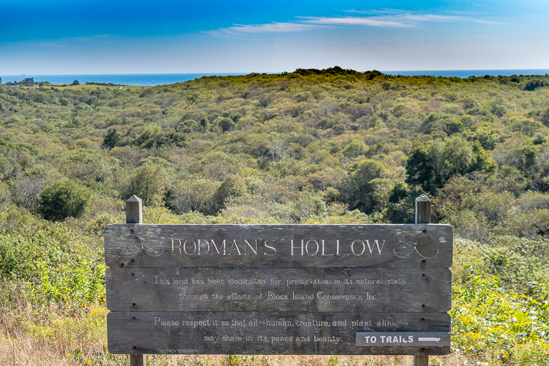 Rodman's Hollow Trailhead Sign